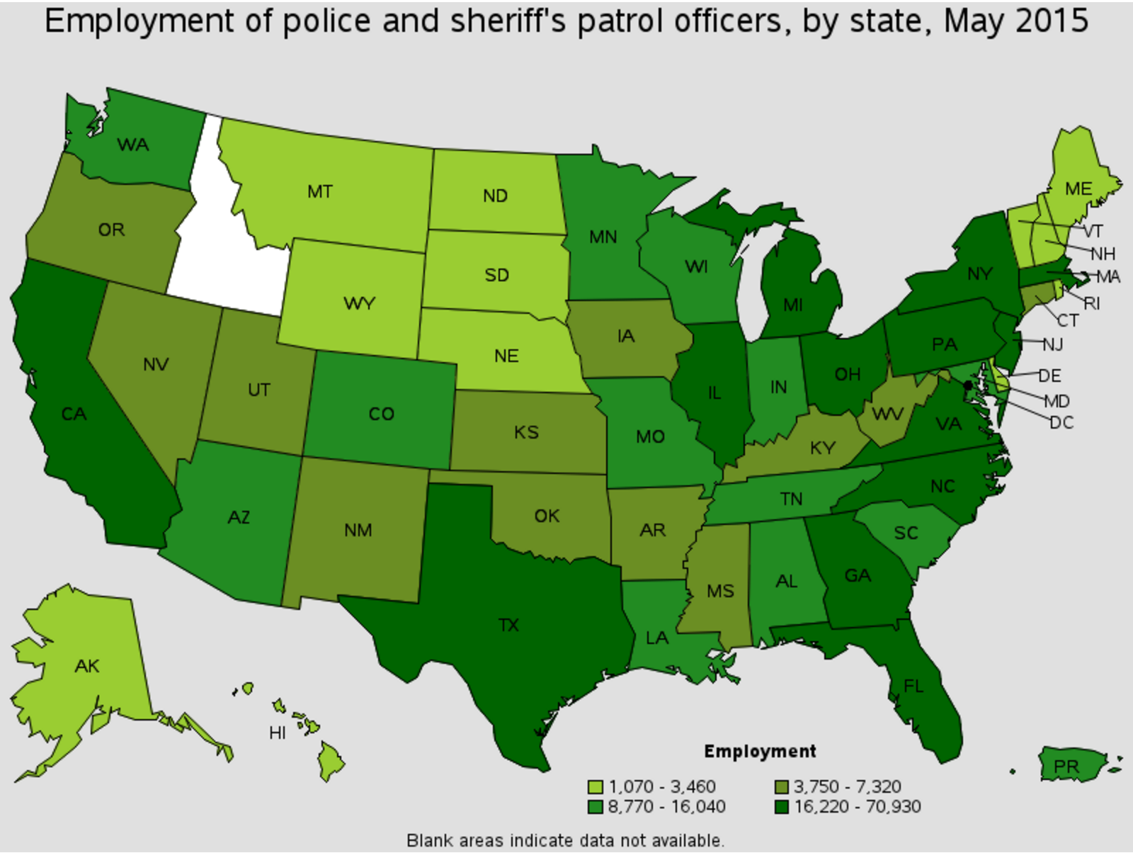 Corpus Christi police officer career outlook by state